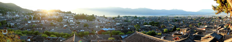 Panorama of Lijiang (the ancient city of China) stock photo