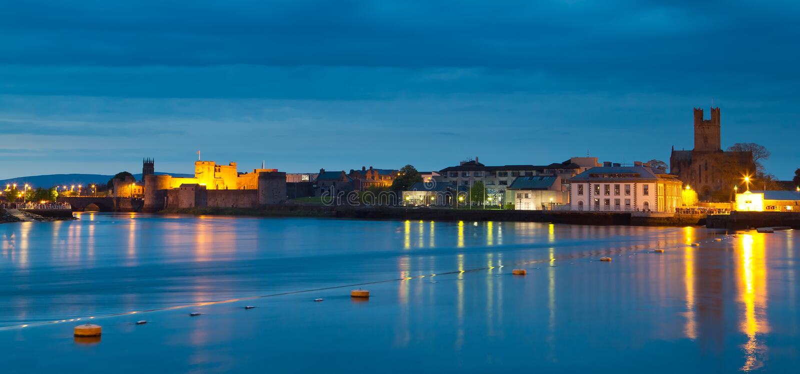 Panorama of Limerick city at dusk. Ireland royalty free stock photography