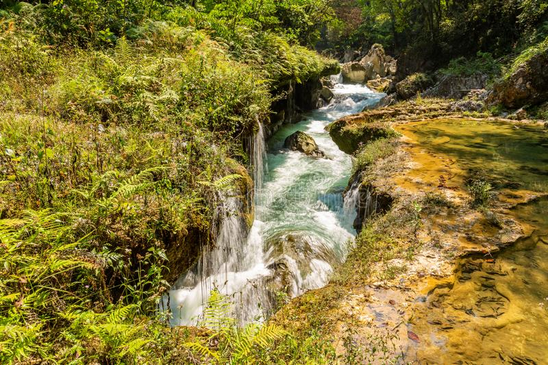 Panorama of the limestone ridge with cascades and waterfalls of Semuc Champey in the Peten jungle and rainforest of Guatemala stock photos