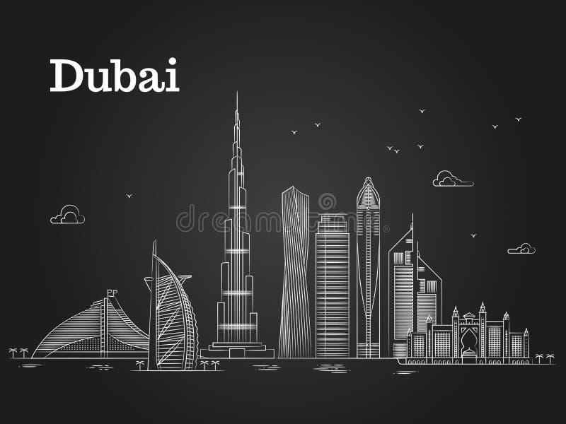 Panorama linéaire blanc de Dubaï avec des horizons et des bâtiments célèbres illustration stock