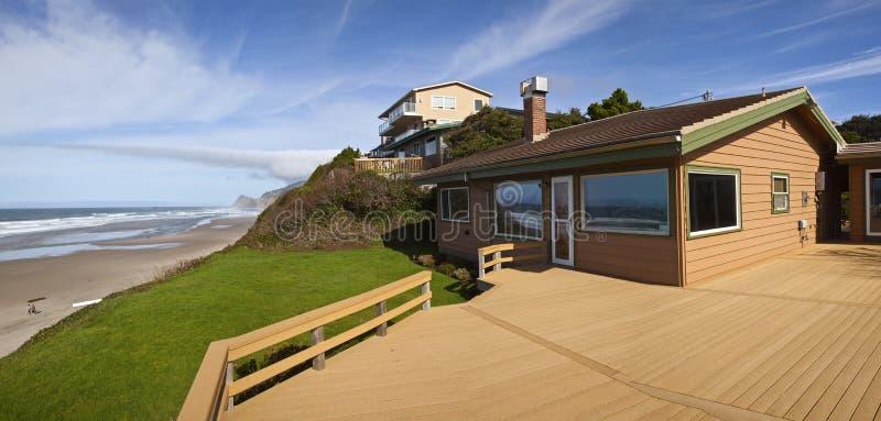 Panorama Lincoln City de maisons de plage photographie stock libre de droits
