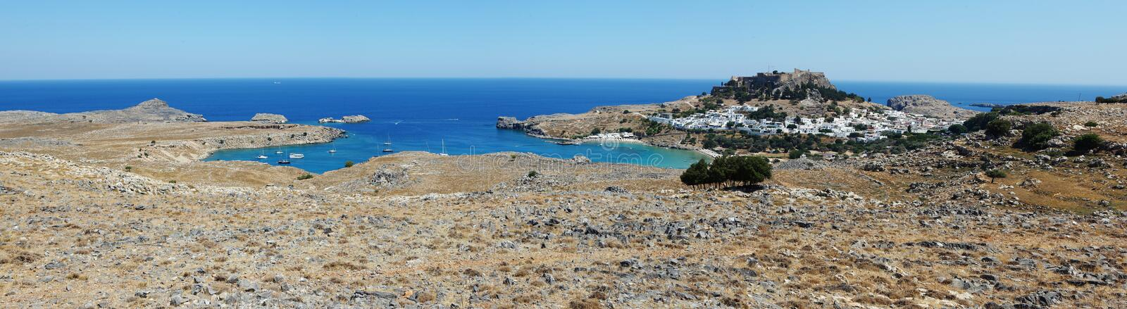 Download Panorama of Lindos. stock photo. Image of palace, walls - 20601904
