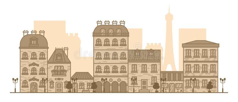 Panorama linear liso da paisagem da cidade com constru??es e casas turismo, curso à ilustração do vetor de Paris ilustração royalty free