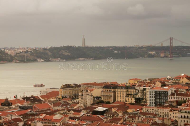 Download Panorama Lissabon fotografering för bildbyråer. Bild av tagus - 37344861