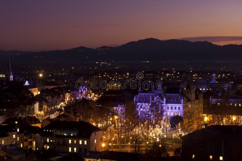 Download Panorama Of Ljubljana At Dusk. Stock Image - Image of europe, christmas: 22371553