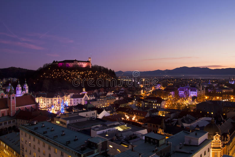 Panorama Of Ljubljana At Dusk. Royalty Free Stock Photo