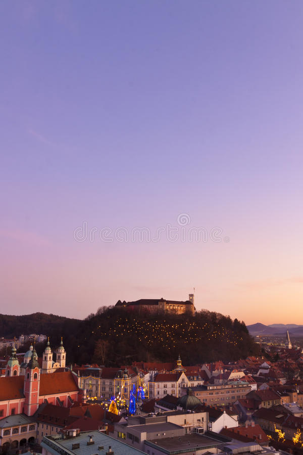 Download Panorama Of Ljubljana At Dusk. Stock Photo - Image: 22371594