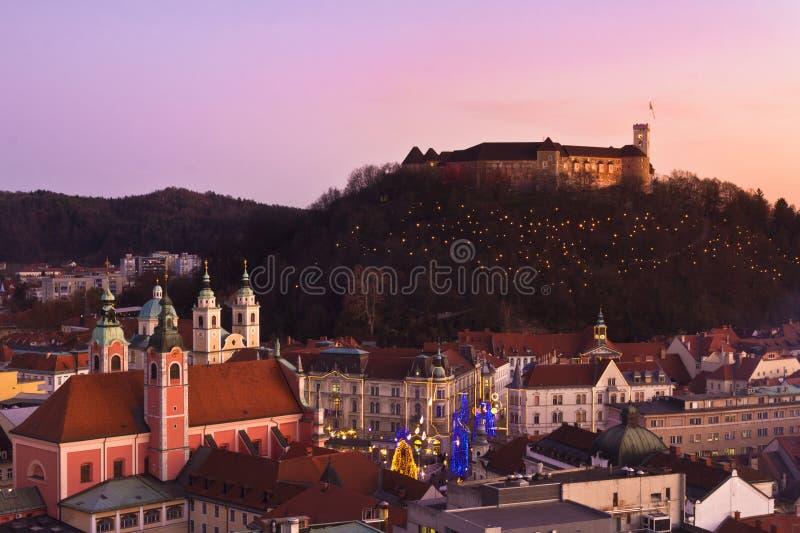 Download Panorama Of Ljubljana At Dusk. Stock Image - Image: 22371599