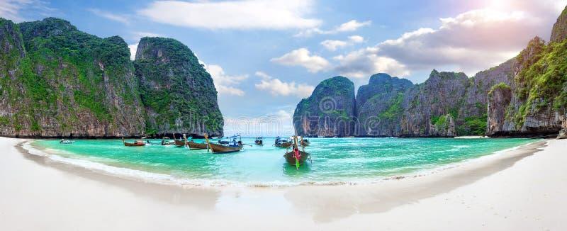 Panorama of Long boat and blue water at Maya bay in Phi Phi Island. royalty free stock photos