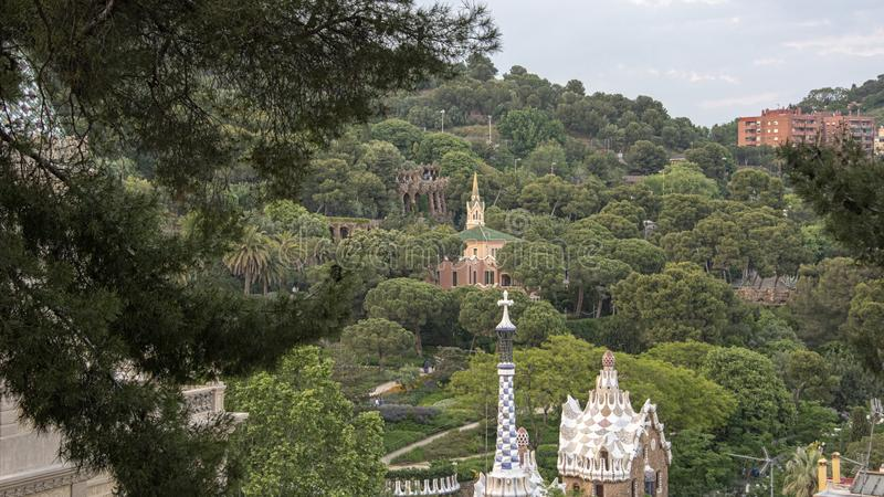 Panorama looking across Parc Guell stock photography