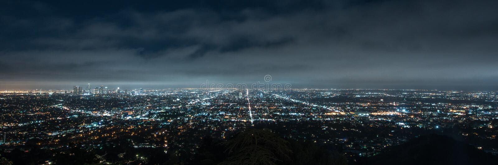 Panorama of Los angeles cityscape at night. From Griffith Observatory royalty free stock image