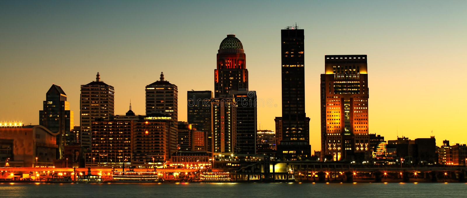 Panorama of Louisville night city center across the Ohio River stock photography