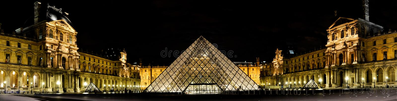 Panorama Louvre w Paryż fotografia royalty free