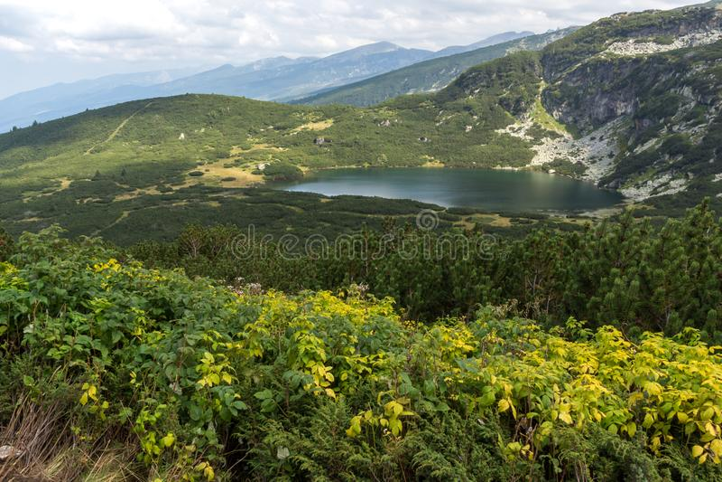 Panorama of The Lower Lake, Rila Mountain, The Seven Rila Lakes, Bulgaria. Amazing panorama of The Lower Lake, Rila Mountain, The Seven Rila Lakes, Bulgaria stock image