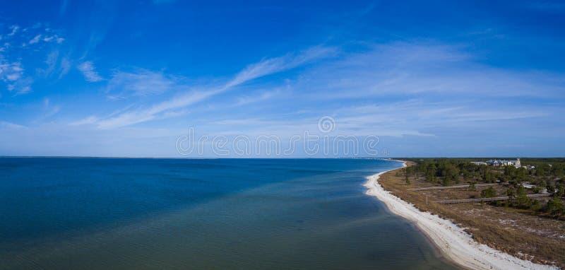 Panorama Luchtmening van een strand van Florida stock afbeeldingen