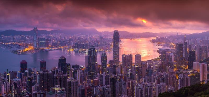 Panorama Luchtmening van Hong Kong-horizon van Victoria Peak royalty-vrije stock afbeelding