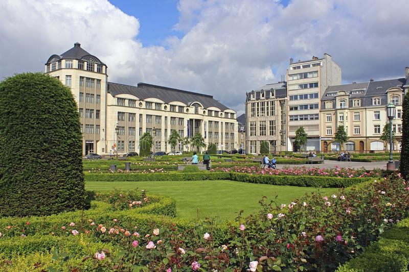 Panorama of Luxembourg city. Park and panorama of Luxembourg city stock photo