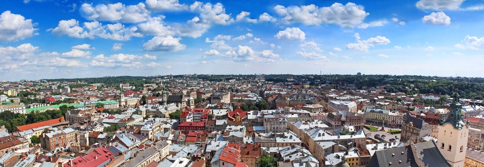 Panorama of Lviv, Ukraine royalty free stock photos