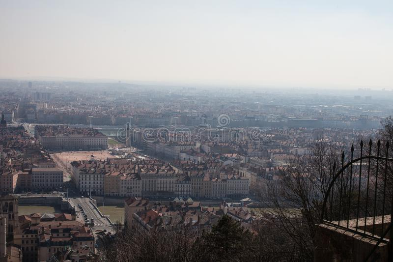 Panorama of Lyon from the terrace of the Fouviere Cathedral stock image
