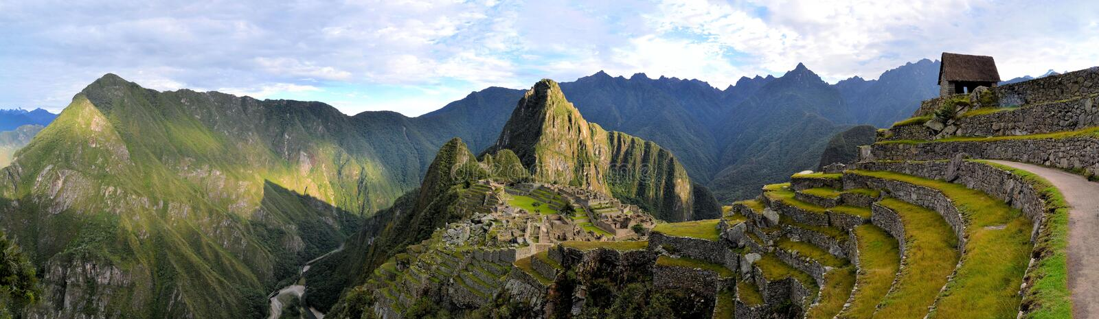 Panorama of Machu Picchu, lost Inca city in the stock photography
