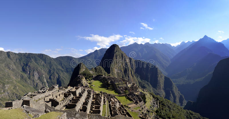 Panorama of Machu Pichu with Huayna Picchu royalty free stock images