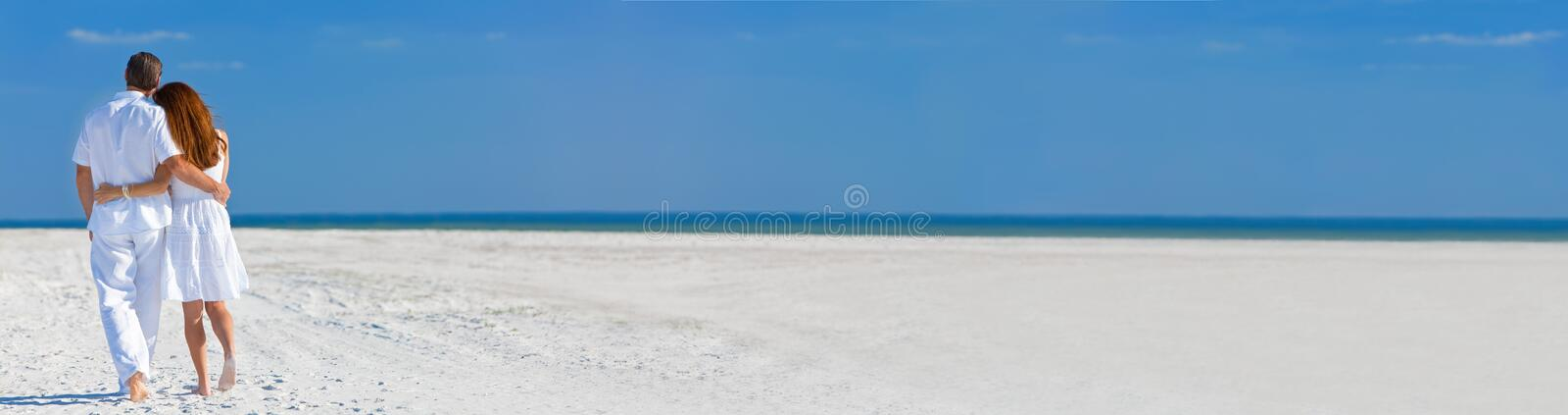 Panorama Man Woman Couple Walking on An Empty Beach Panoramic Web Banner stock images