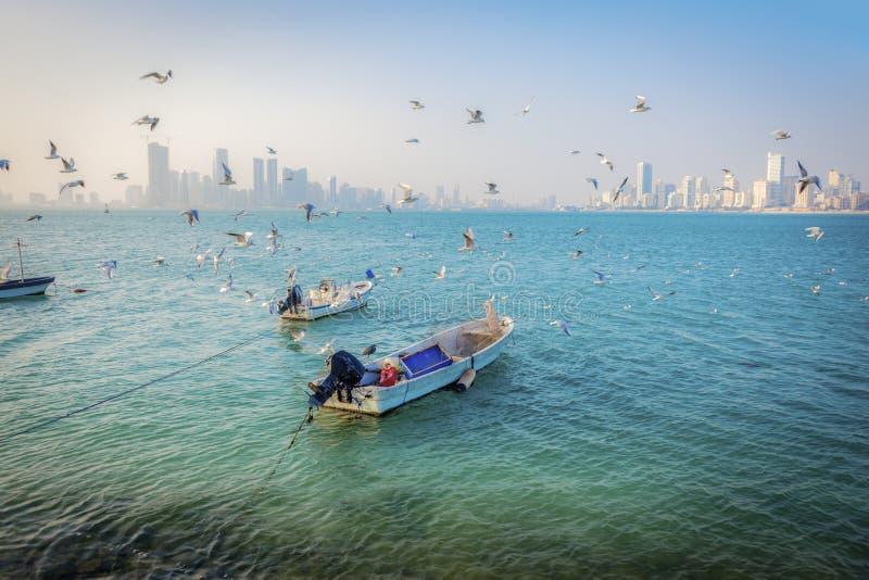 Panorama of Manama. With the boats. Manama, Bahrain royalty free stock photography