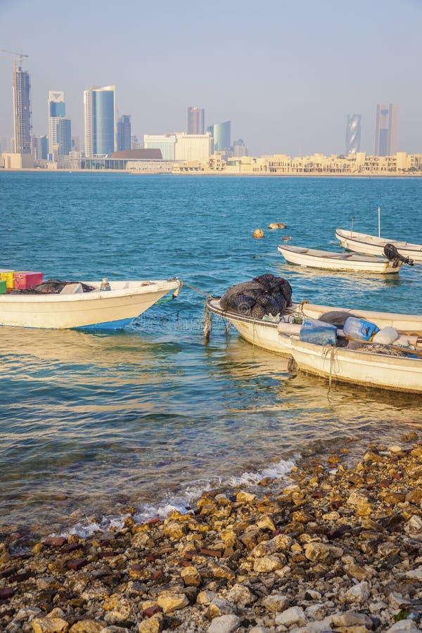 Panorama of Manama. With the boats. Manama, Bahrain stock photos