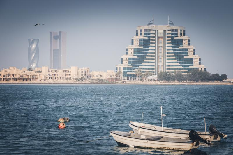 Panorama of Manama. With fishing boats. Manama, Bahrain stock photos