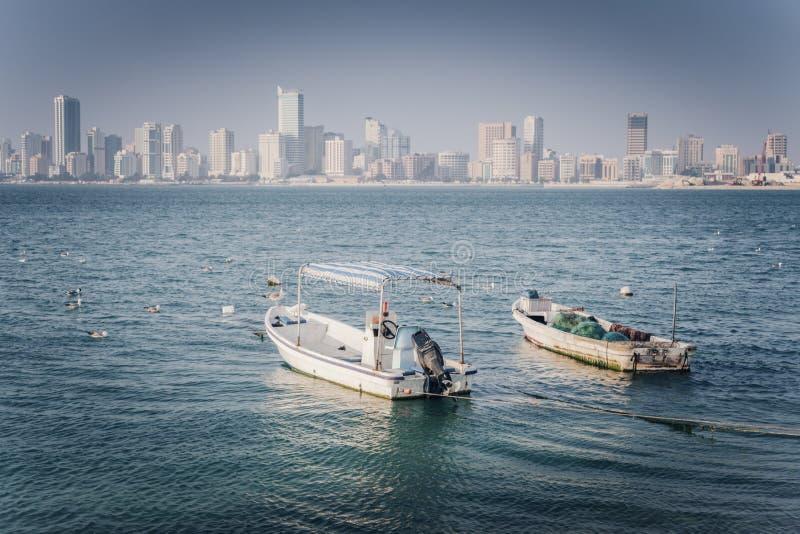 Panorama of Manama. With fishing boats. Manama, Bahrain royalty free stock photography