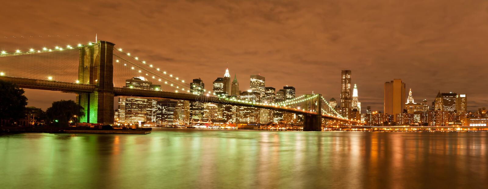 Panorama of Manhattan and Brooklyn Bridge. Night view of the Brooklyn Bridge from Dumbo in Brooklyn with the skyline of New York Behind royalty free stock images