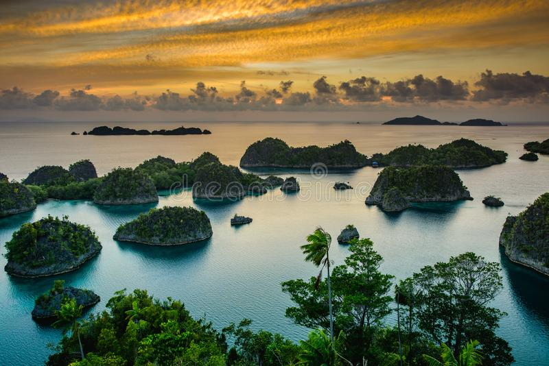 Raja Ampat Papua New Guinea, Indonesian Paradise. Part of the Coral Triangle. Panorama marine reserve Raja Ampat in New Guinea royalty free stock image