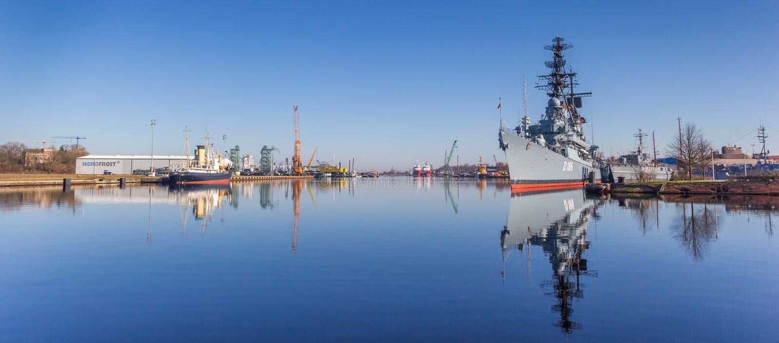 Panorama of the marine warship in the harbor of Wilhelmshaven royalty free stock photos