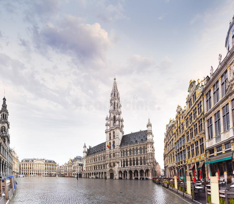 Panorama of the Market Square or Grand Place in Brussels in autumn rainy weather, Belgium. Panorama of the Market Square or Grand Place in Brussels in autumn stock images