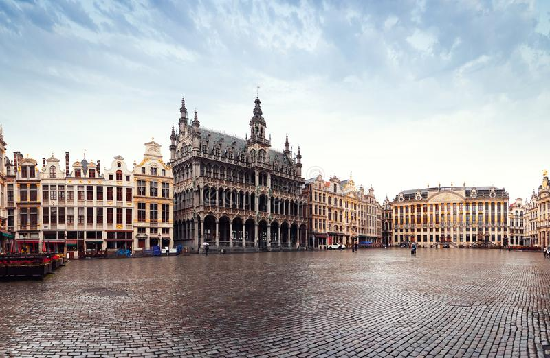 Panorama of the Market Square or Grand Place in Brussels in autumn rainy weather, Belgium. Panorama of the Market Square or Grand Place in Brussels in autumn stock photography