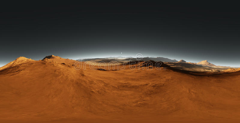 Panorama Mars zmierzch, środowiska HDRI mapa Equirectangular projekcja, bańczasta panorama Marsjański krajobraz royalty ilustracja