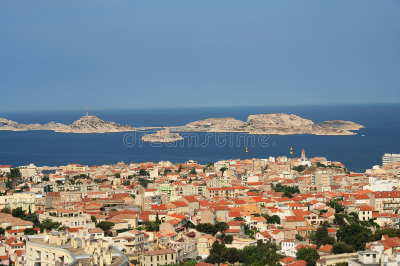Panorama of Marseilles, France. View from Notre Dame Cathedral to the Frioul islands and theisland If stock images