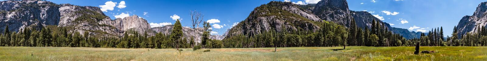 Panorama of meadow in valley of Yosemite National Park royalty free stock images