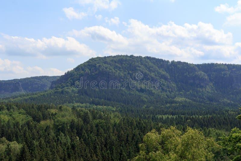 Panorama med berget Kleiner Winterberg och skogen som ses från Kuhstall i anglosaxaren Schweiz arkivfoton