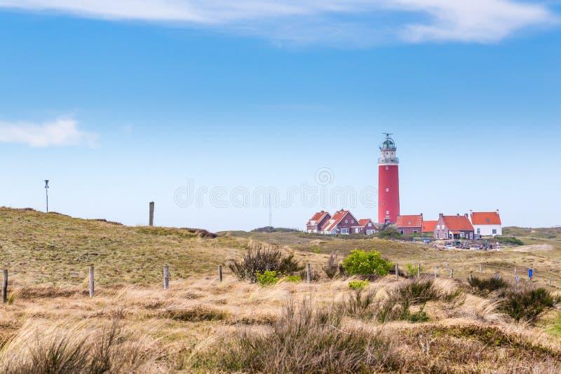 Panorama med fyrTexel Nederländerna royaltyfri fotografi