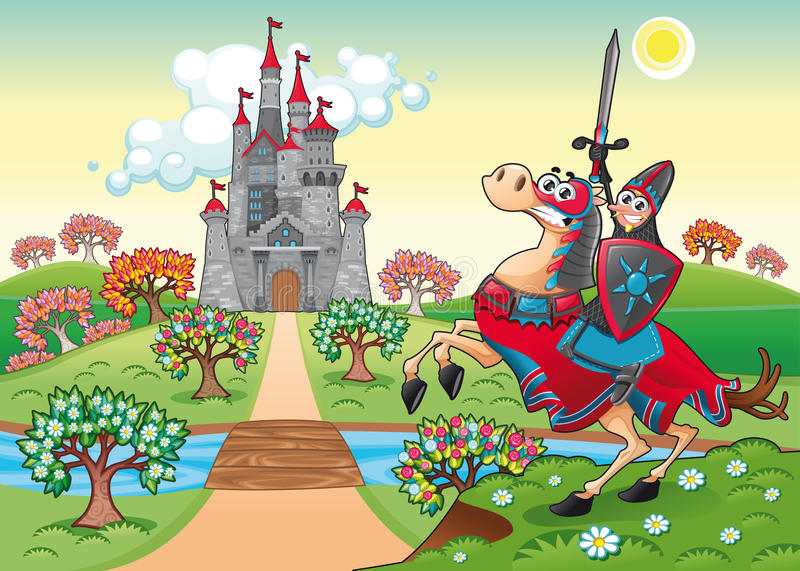 Panorama with medieval castle and knight. stock illustration