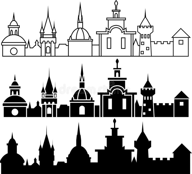 Panorama medieval de la ciudad stock de ilustración