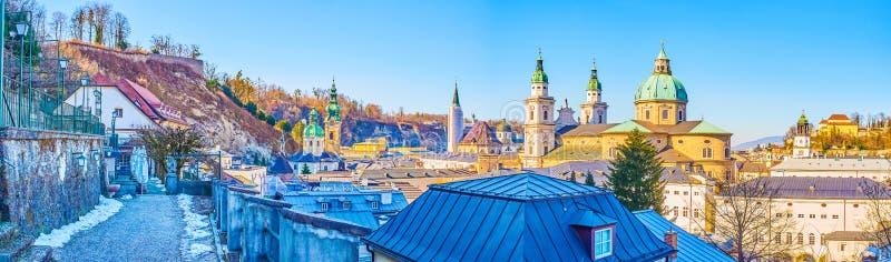 Panorama of medieval Salzburg, Austria royalty free stock photo