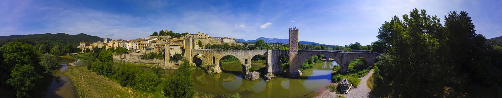 Panorama from medieval town of Besalu. A panoramic view of Besalú, a town in the comarca of Garrotxa, in Girona, Catalonia, Spain stock image