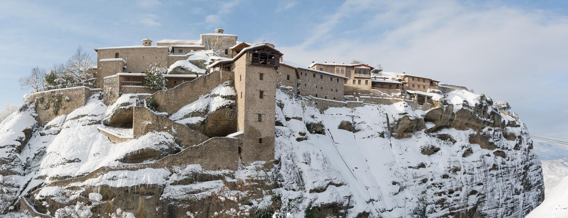 Panorama Megala Meteor monaster, Grecja zdjęcie stock