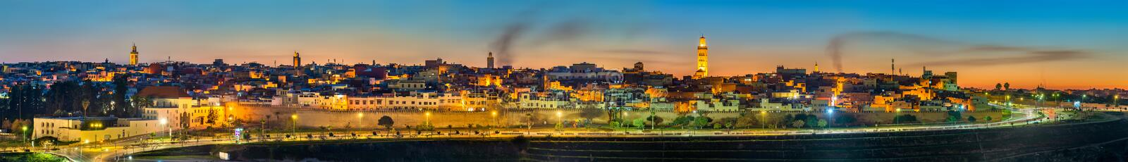 Panorama of Meknes in the evening - Morocco royalty free stock photo