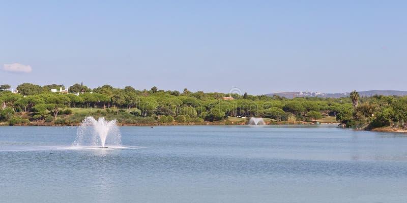 Panorama meraviglioso il lago e le fontane del parco. fotografia stock