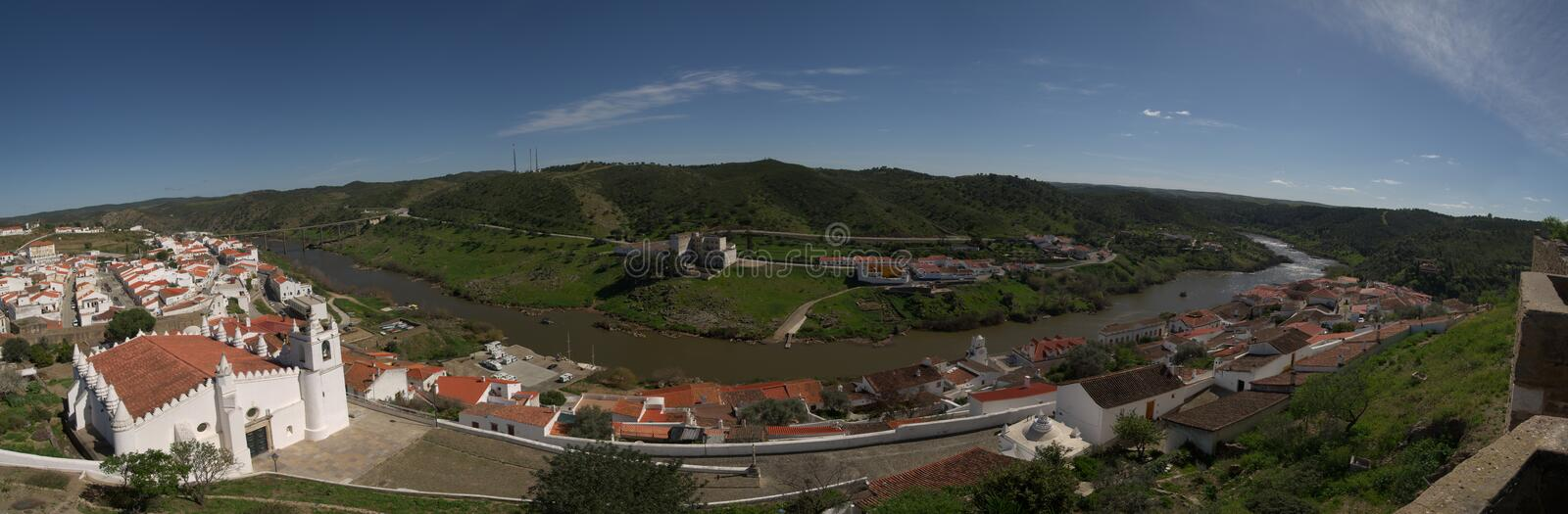 Panorama of Mertola town as seen from the castle stock photo