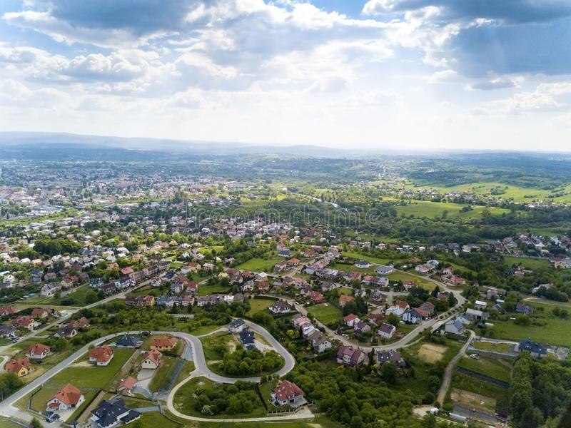 Panorama of the mestain near the town of Jaslo in Poland from a bird`s eye view. Aerial photography of landscapes and settlements. Urbanization of the country royalty free stock photography