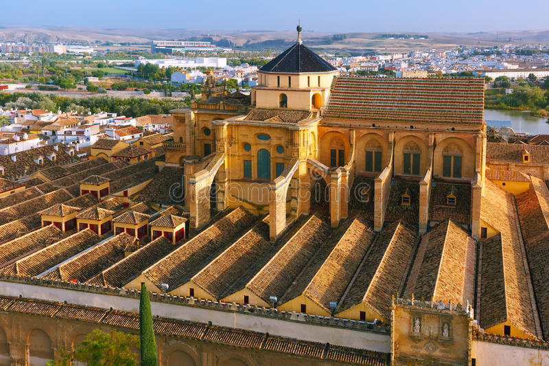Panorama of Mezquita in Cordoba, Spain. Aerial view of Great Mosque Mezquita - Catedral de Cordoba, Andalusia, Spain royalty free stock image